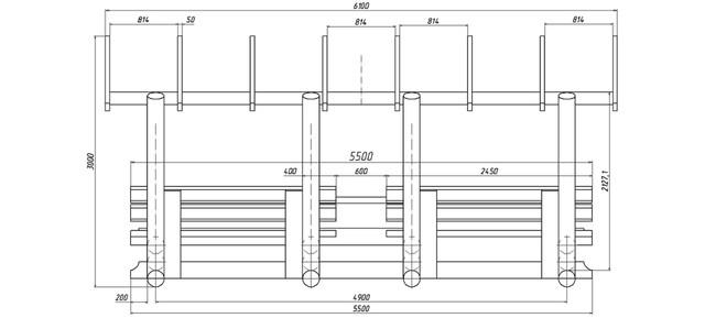 План деревянной беседки размером 5,5 х 3,5