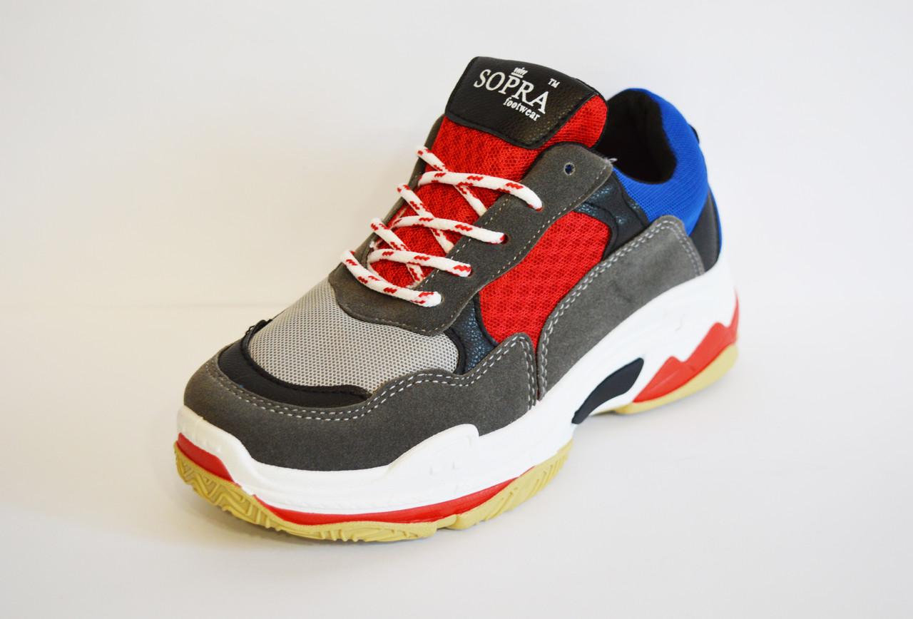 Кросівки жіночі червоно-сірі Sopra 806