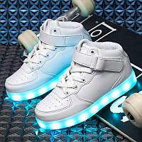 White High Step, Белые высокие светящиеся кроссовки LED (USB подзарядка), размер 28(17,5см)(LK 1009)