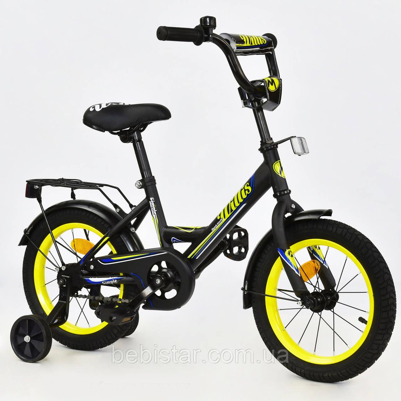 """Двухколесный велосипед  WILLIS 14"""" R 1416 детям 3-5 лет цвет черный"""