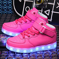 Pink High Step, Розовые высокие светящиеся кроссовки LED (USB подзарядка), размер 30-39