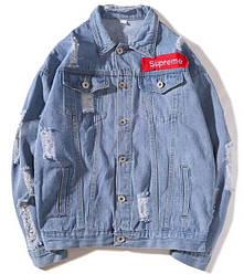 Джинсовая куртка Supreme 'Blue' (Суприм) голубая