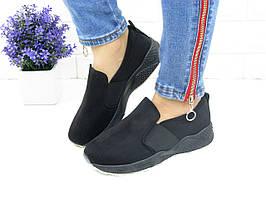 Женские стильные слипоны Fashion  1006 39 размер 23,5 см Черный