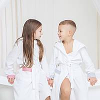 Халат детский махровый с капюшоном для мальчика DANIEL 9-10 лет