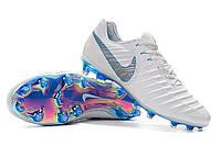 Футбольные бутсы Nike Tiempo Legend VII FG White/Metallic Cool Grey/Blue Hero, фото 1