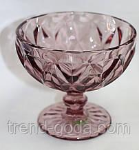 Вазочка под мороженное, стеклянная, светло-вишневая, 300 мл