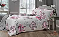 Семейный комплект постельного белья TAC DELUX-SATIN PEONY V01 розовый