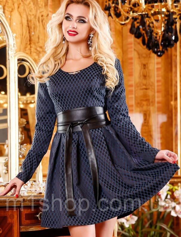 Женское расклешенное жаккардовое платье темно-синего цвета (1102-1100 svt)