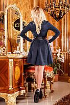 Женское расклешенное жаккардовое платье темно-синего цвета (1102-1100 svt), фото 3