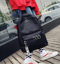 Рюкзак черный с кольцами
