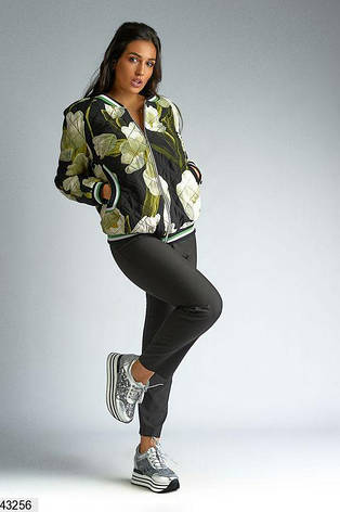 Куртка-бомбер весна-осень на легком синтепоне большие размеры: 50-62, фото 2