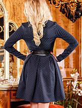 Женское расклешенное жаккардовое платье темно-синего цвета (1102-1100 svt), фото 2