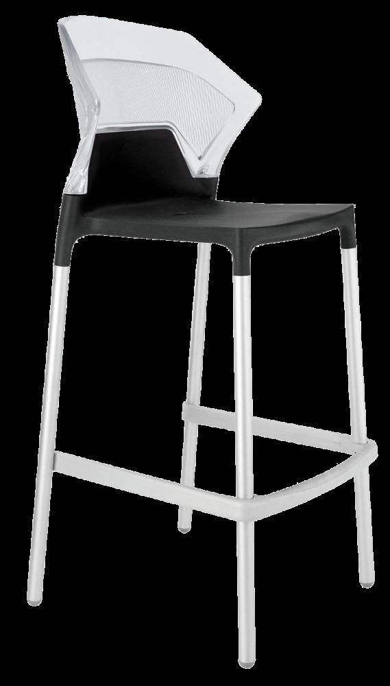 Барный стул Papatya Ego-S черное сиденье, верх прозрачно-чистый