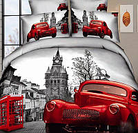 Семейное постельное белье сатин LOVE YOU 3D Лондон