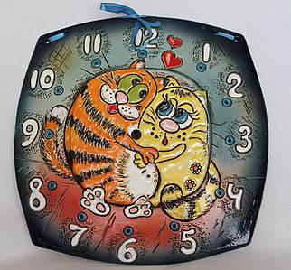 """Часы настенные механические квадрат """"Два кота"""""""
