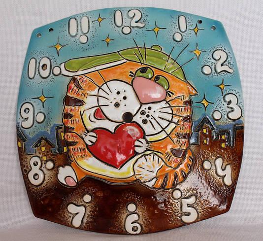 """Часы настенные механические квадрат """"Кот с сердцем"""""""