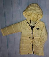 Демисезонное пальтодетскоедля девочки 2-6 лет, желтое
