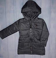 Демисезонное пальтодетскоедля девочки 2-6 лет, темно-серое