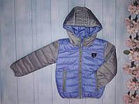 Демисезоннаякурткадетскаядля мальчика 2-6 лет, светло-синяя с серым