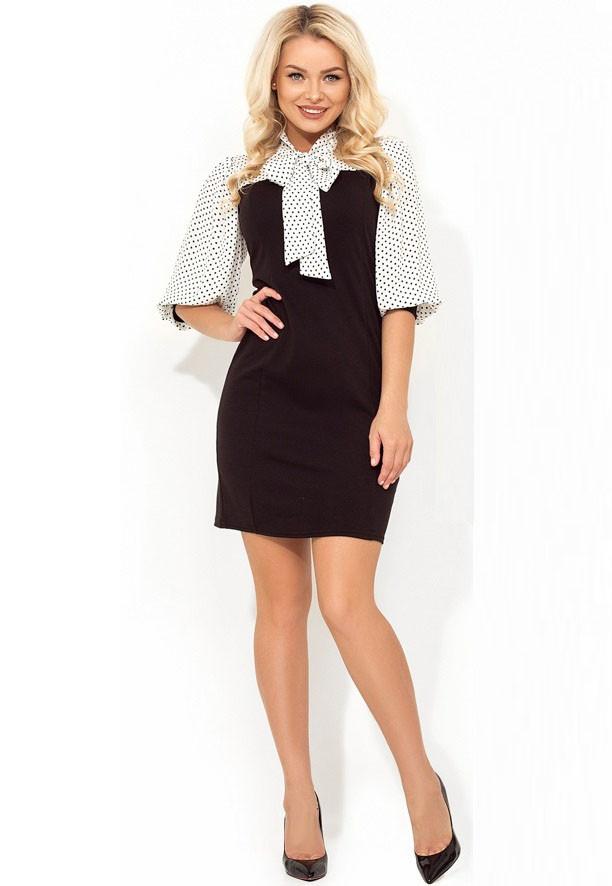 0f72ac94046 Офисное платье в горошек с рукавом Д-558 - Lace Secret - Магазин женского  белья