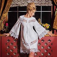 c8a64fbf8335 Махровый халат с кружевами GLORIA белый, кремовый S. Все размеры.