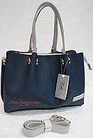Женская сумка на три отдела двухцветная