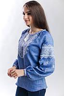 Женская вышиванка Твори мир, лен джинс, длинный рукав, фото 1
