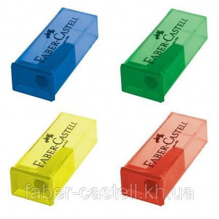 Точилка простая цветная с цветным контейнером Faber-Castell, 581525