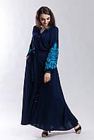 Синее платье с вышивкой Дерево жизни (бирюзовая вышивка), фото 1