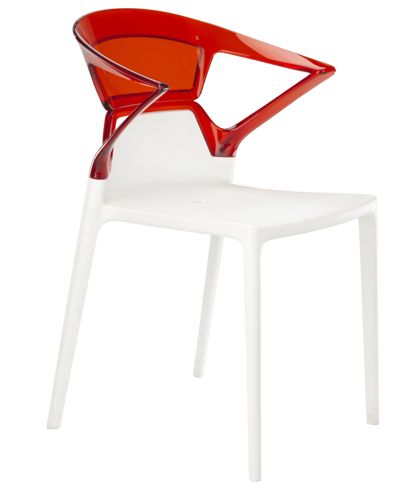 Кресло Papatya Ego-K белое сиденье, верх прозрачно-красный