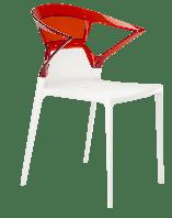 Кресло Papatya Ego-K белое сиденье, верх прозрачно-красный, фото 1