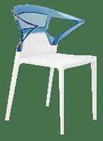 Кресло Papatya Ego-K белое сиденье, верх прозрачно-синий, фото 1