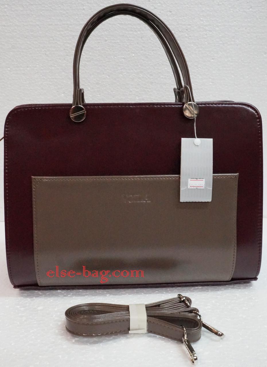 Женская сумка из матового лака с карманом