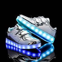 Silver Kids Step, Серебристые светящиеся кроссовки LED (USB подзарядка), размер 30-36
