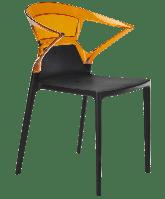 Крісло Papatya Ego-K чорне сидіння, верх прозоро-помаранчевий, фото 1