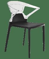 Кресло Papatya Ego-K черное сиденье, верх прозрачно-чистый, фото 1