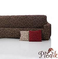 Чехол на диван натяжной 4-х местный Испания, Dickson Brown Диксон коричневый