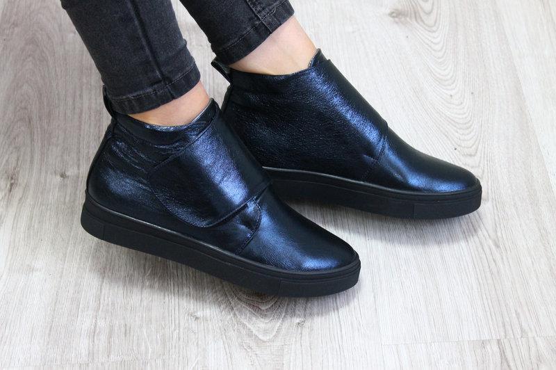 Женские демисезонные кожаные ботинки хайтопы на липучке, синие, р.38,40