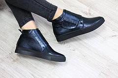 Женские демисезонные кожаные ботинки хайтопы на липучке, синие, р.38,40, фото 3