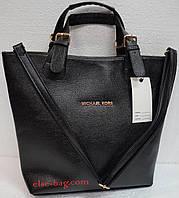 Черная сумка трапеция на ремешках