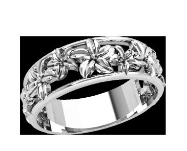 Кольцо  женское серебряное Цветы 21196