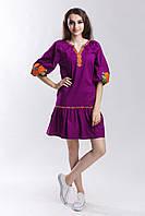 Вишите плаття з бавовни виноградного кольору, фото 1