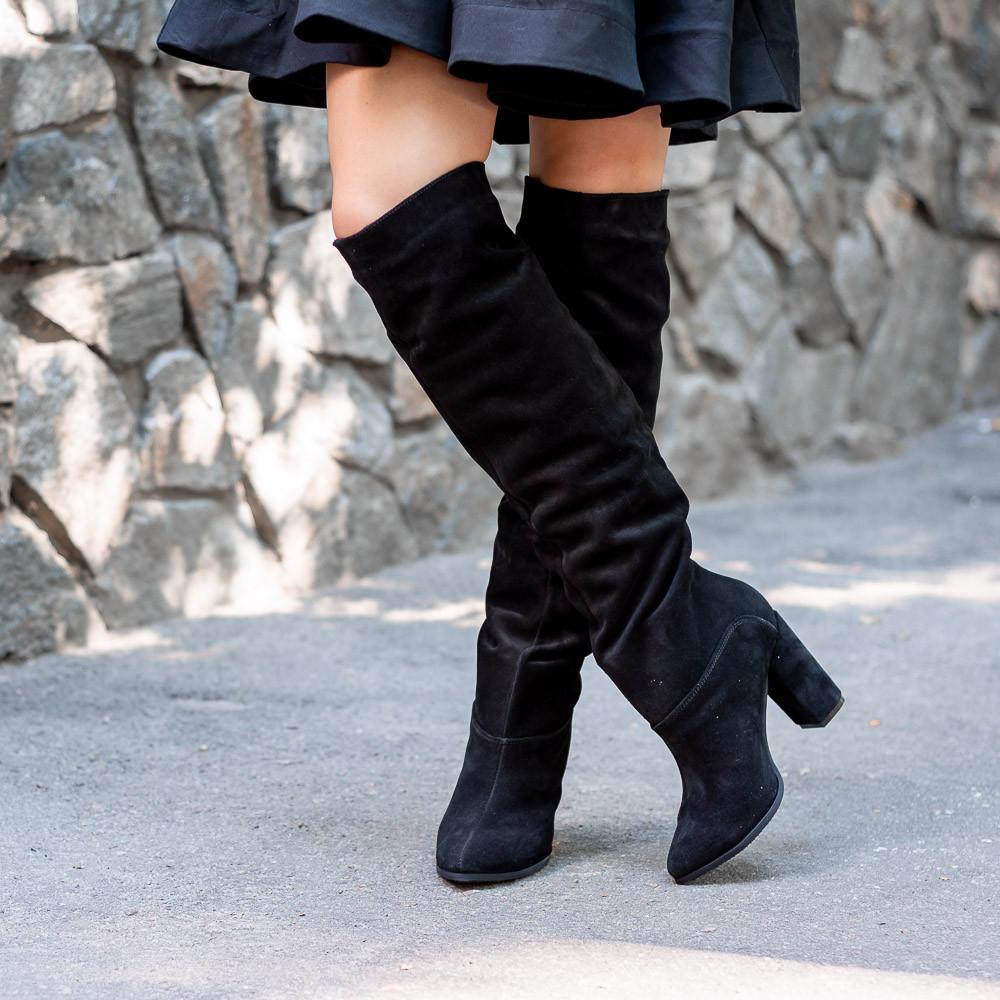 Женские черные высокие замшевые сапоги на каблуке. Пошив на любую голень. Цвет кожи/замши на выбор.