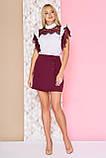 Эффектная блуза с плечевыми кокетками из гипюра 40-52р, фото 2