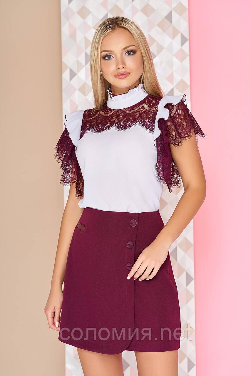 Эффектная блуза с плечевыми кокетками из гипюра 40-52р