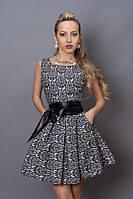 Короткое платье с пышной юбкой, серый орнамент