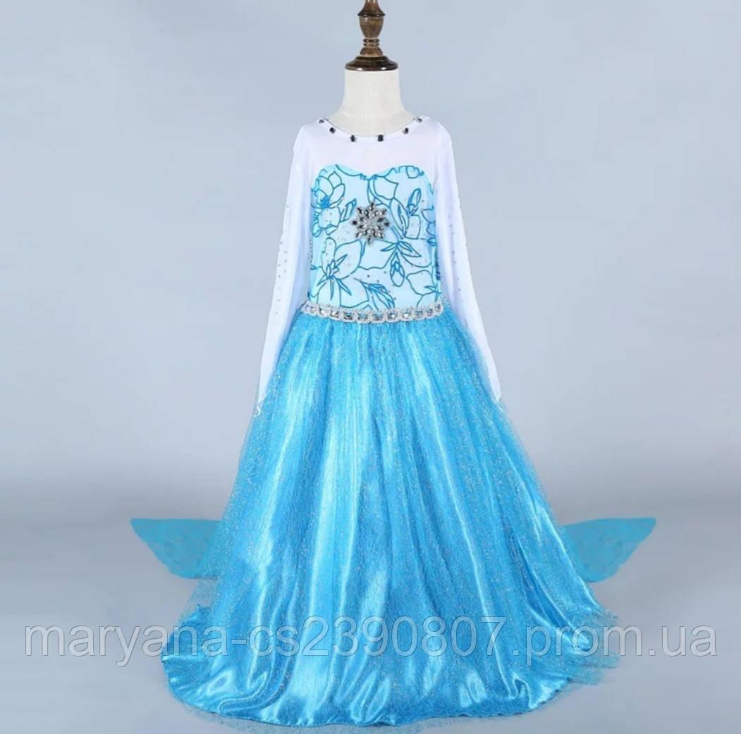 2b7f0e601 Карнавальное платье Эльзы со звездой и шлейфом для девочек 5-8 лет ...