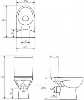 Компакт  Cersanit PARVA 438 011 3/6 с крышкой дюропласт лифт, фото 2