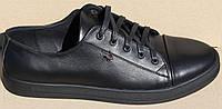 Мужские кроссовки на шнурках из натуральной кожи черного цвета от производителя модель МВ-09