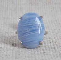 Кольцо с голубым агатом 17 размера. Кольцо с сапфирином